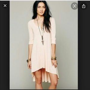 Free People Peach High Low Henley Tunic